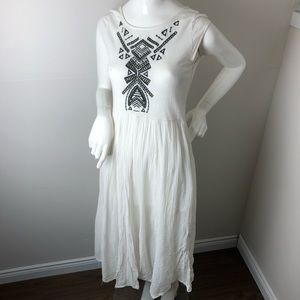 Free People Dress S White Embroidered Boho